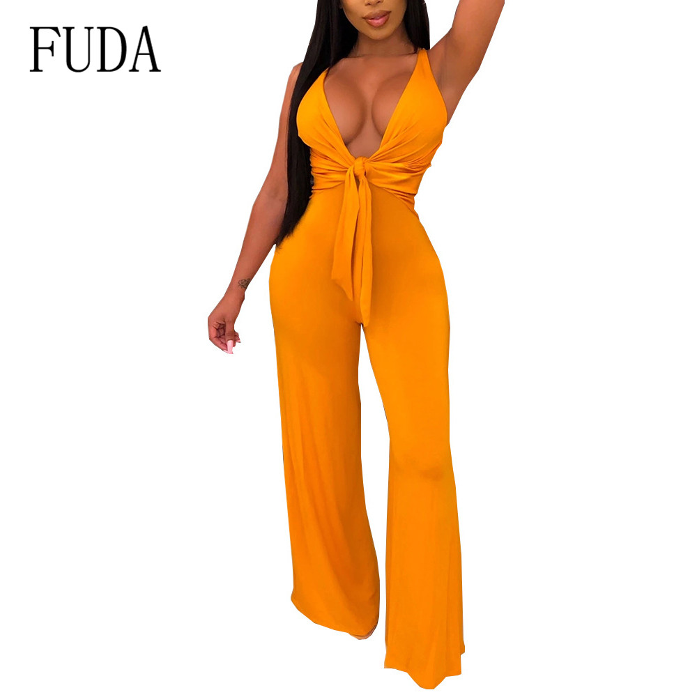FUDA New Arrival High Waist Long Jumpsuits Summer Sexy Deep V-neck Tie Up Sleeveless Female Wide Leg Rompers Playsuits Overalls