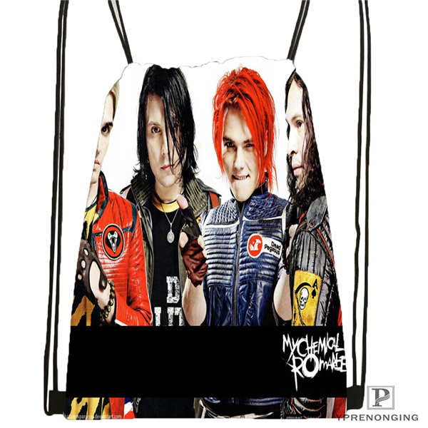 Custom Its_my_chemical_romance@02- Drawstring Backpack Bag Cute Daypack Kids Satchel (Black Back) 31x40cm#180611-03-110