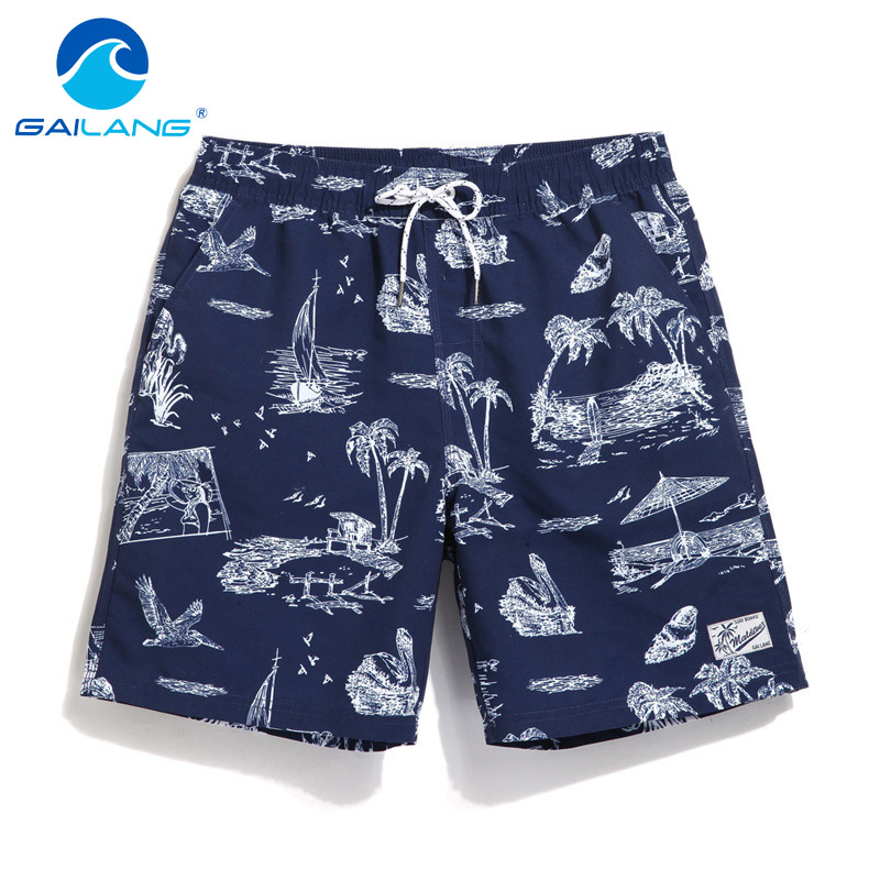 Gailang Brand Sexy Men's Beach Shorts Board Boxer Trunks Shorts Men Swimwear Swimsuits Quick Dry Shorts Gay Quick Dry