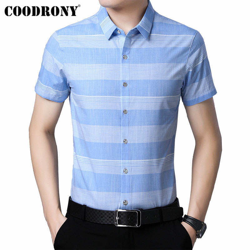 COODRONY Social Business Casual Shirts Fashion Striped Shirt Men 2019 Summer Cool Short Sleeve Men Shirt Camisa Masculina S96029