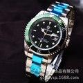 Hk Marca Coroa de luxo Homens Relógio de Safira GMT Bezel Rotativo data Esportes Aço Blue Dial Ouro Quartz Watch Militar Reloj Hombre