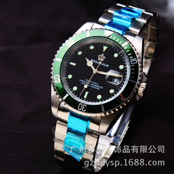 Luxury Hk Crown Brand Men Clock Rotatable Bezel GMT Sapphire Date Gold Steel Sports Blue Dial