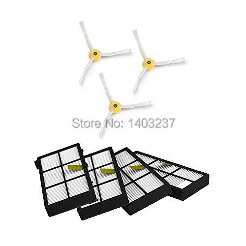 4 x HEPA Filter 3 x 3-armed Side Brush For iRobot Roomba 800 series 870 880  900 series 980 Vacuum Cleaning Accessory потребительские товары other 3 irobot roomba 800 880 870 47370