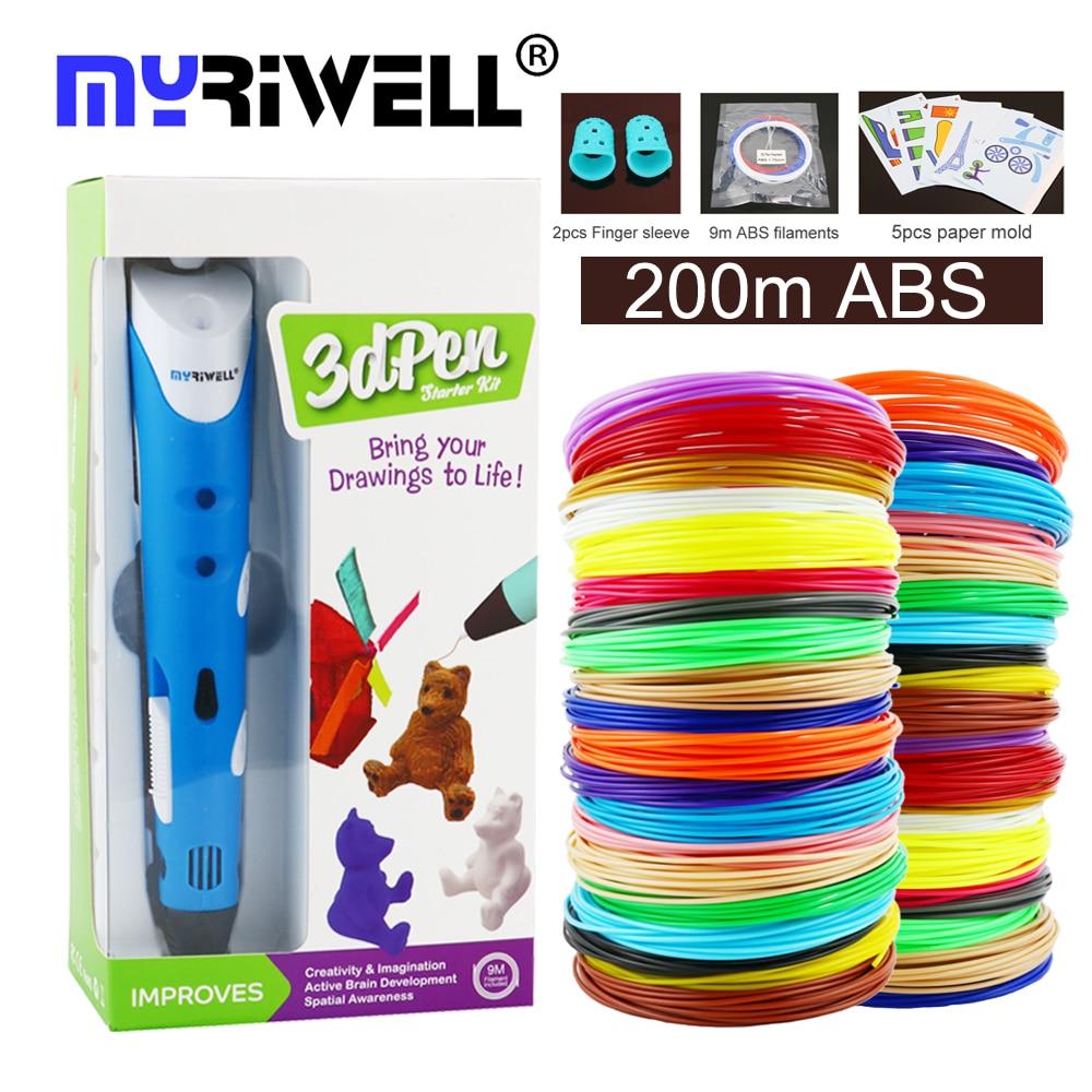 myriwell 3d pen 25m or 50m or 100m 1.75mm ABS filament 3d printer pen 3d handles for kids birthday c