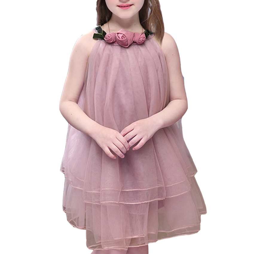 Flower Girls Dress for Baby Kids Summer Clothes 2018 New Cute Sleeveless Ball Gown Girls Party Birthday Voile Dress 6 8 10 Years jioromy big girls dress 2017 summer fashion flower lace knee high ball gown sleeveless baby children clothes infant party dress