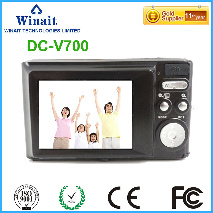 Freeshipping DC-V700 digital camera 3X optical zoom rechargeable lithium battery hot selling photo camera camcorder