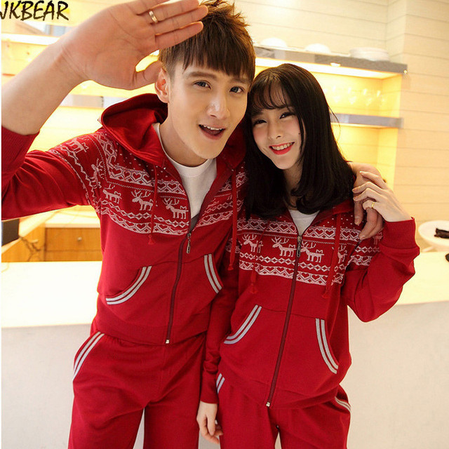 Cute Matching Christmas Outfits for Couples with Tribal Reindeer Red Heart  Pattern Lovely Joggers Hoodie Set - Cute Matching Christmas Outfits For Couples With Tribal Reindeer Red