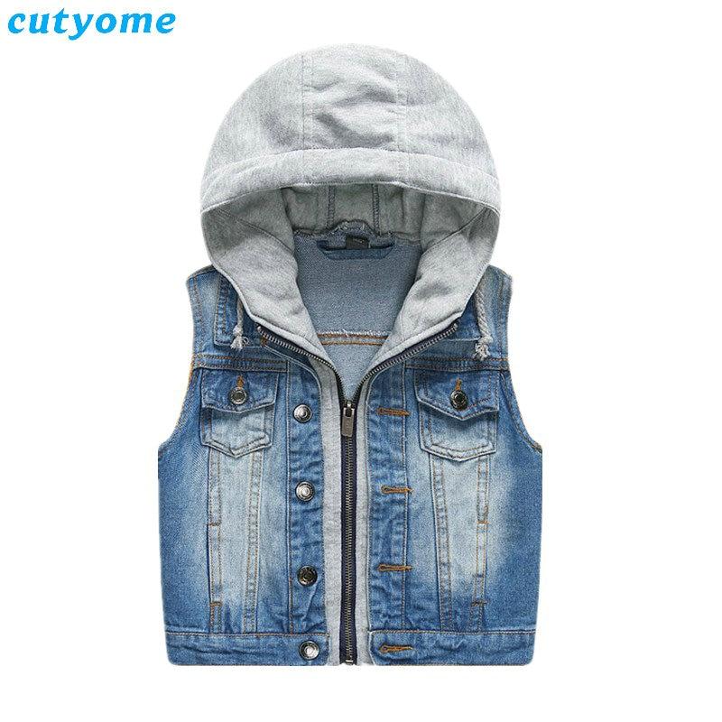Boys Girls Hooded Sleeveless Jacket Waistcoat Jeans Denim Vest Kids Cowboy Coat