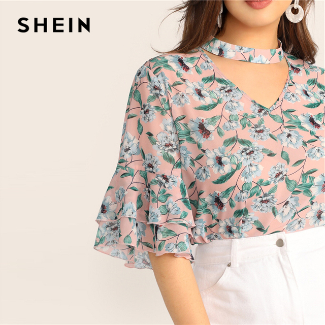 SHEIN Plus Size V-Cut Choker Floral Print Butterfly Sleeve Top Blouse 2019 Women Summer Casual Keyhole Half Sleeve Blouses 4