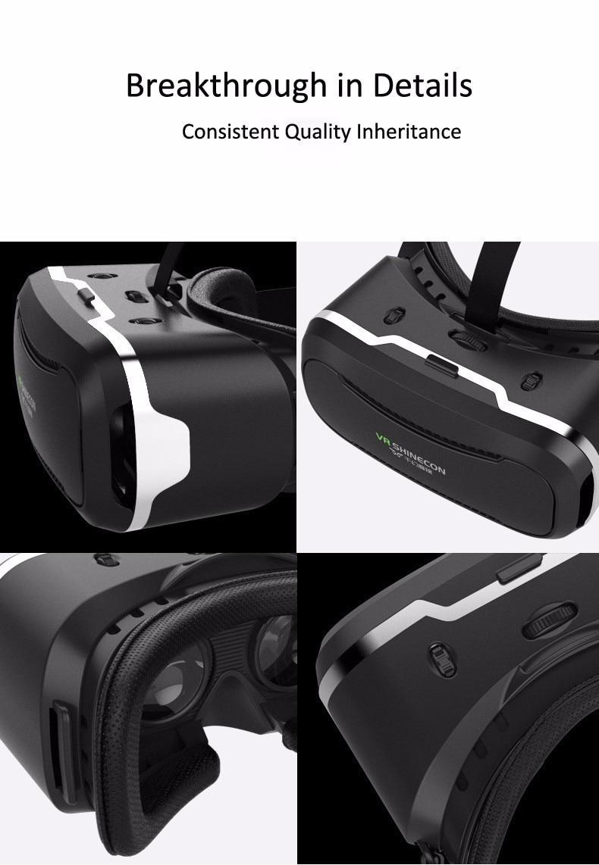 VR Shinecon 2.0 Google Cardboard VR BOX 2.0 Virtual Reality goggles VR 3D Glasses Immersive for 4.5-6.0 inch smartphones 35
