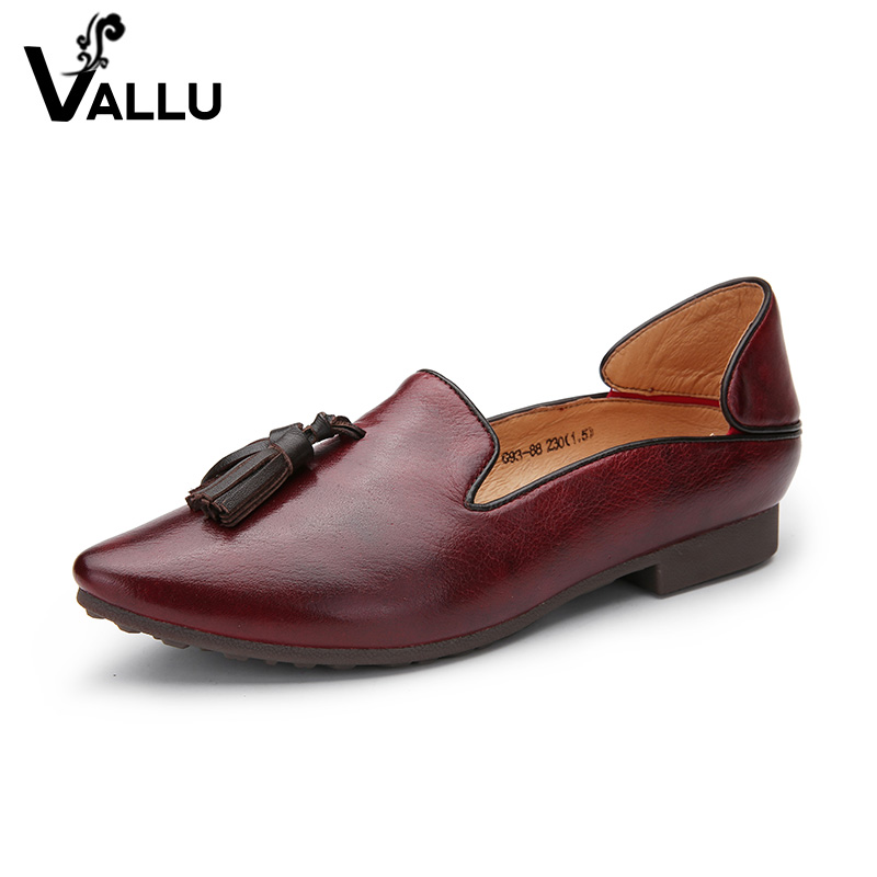 2018 VALLU Women Loafers Natural Leather Women Flats Pointed Toes Tassel Handmdade Soft Comfortable Ladies Flat Shoes