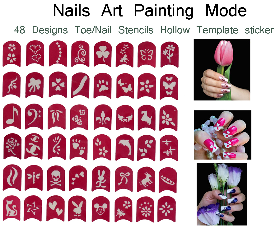 48 Designs Nail Art Painting Stickers Toe Nail Stickers Nail Hollow