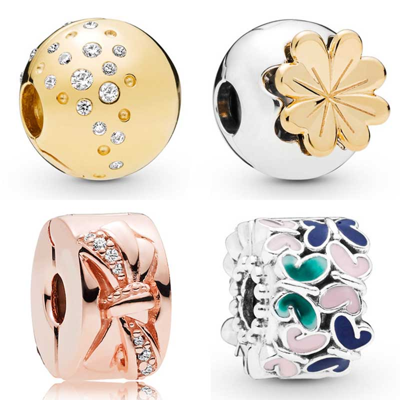 Shining Bow Butterfly Arrangement Clover Scattered Sparkle Clip Charm Fit Pandora Bracelet 925 Sterling Silver Bead DIY JewelryShining Bow Butterfly Arrangement Clover Scattered Sparkle Clip Charm Fit Pandora Bracelet 925 Sterling Silver Bead DIY Jewelry