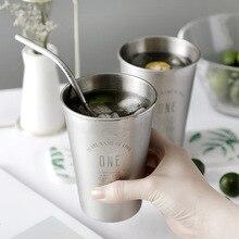 Yooap 500ML American Style Stainless Steel Cups Wine Beer Coffee Cup Unbreakable Stackable Pint Juice Mug Drinking