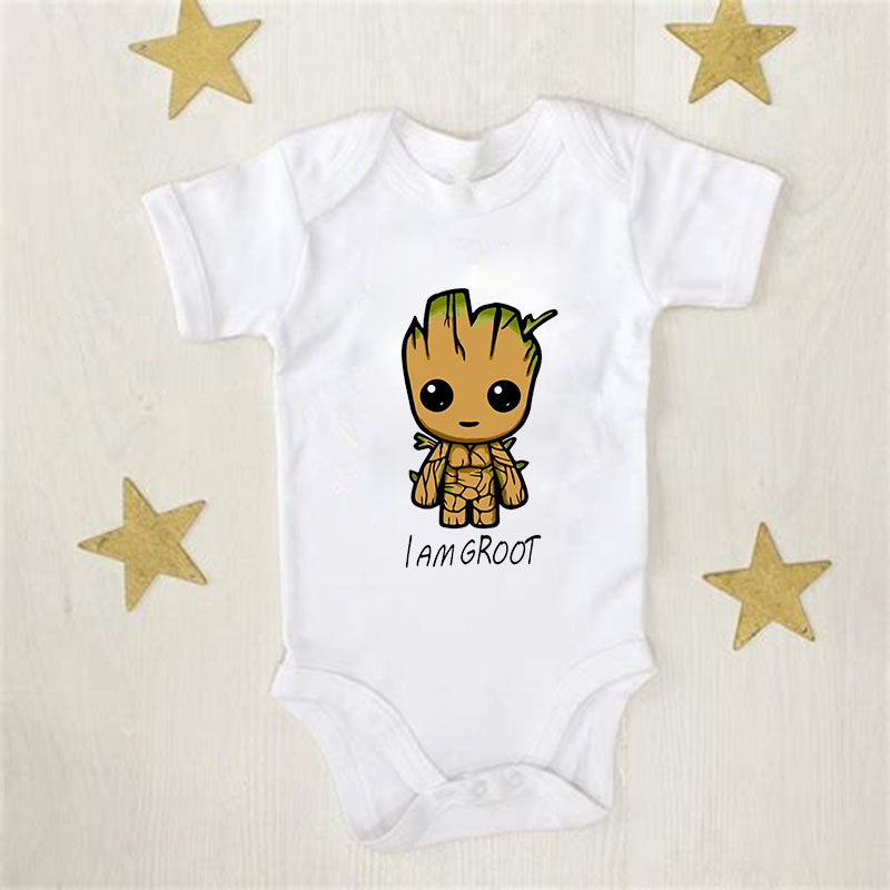 DERMSPE 2019 New Infant Newborn Baby Boys Girls Short Sleeve Letter Print Cute Cartoon Romper Outfits Summer Baby Clothes in Bodysuits from Mother Kids