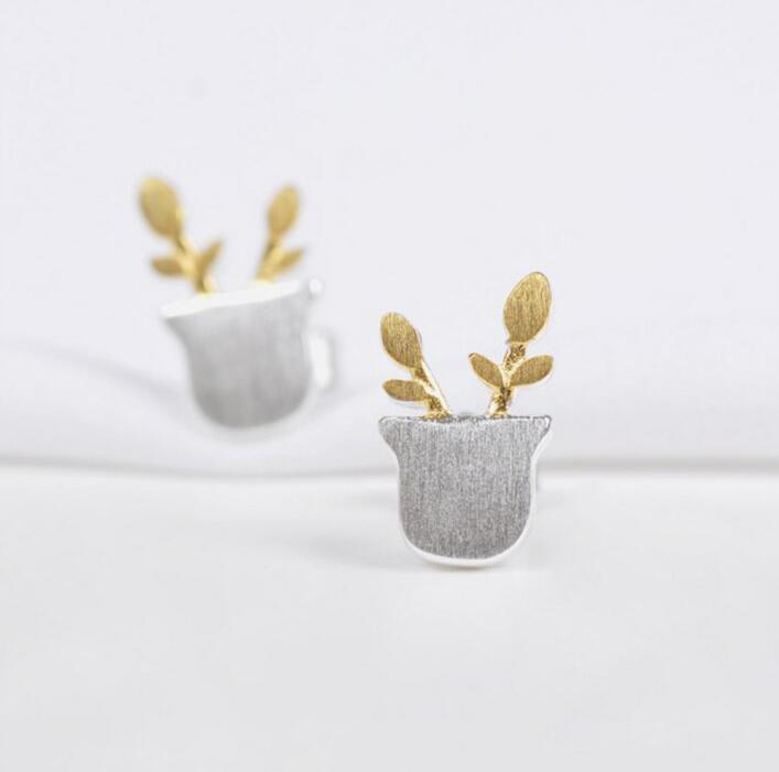 Shuangshuo Ethnic Potted Plants Stud Earrings for Women Flower Pot Earings Fashion Jewelry Gifts for Girls aretes de mujer S040