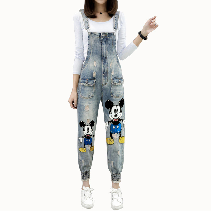 Casual Mickey Overalls   Jeans   For Women Denim Jumpsuit Overalls Trousers Loose Womans Jumpsuit   Jeans   Pocket Spring Pencil Pants
