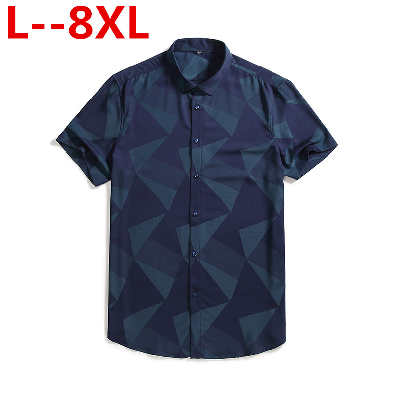 Plus 8XL 6XL 5XL 4XL Mens Hawaiian Shirt Male Casual camisa masculina Printed Beach Shirts Short Sleeve Summer men clothes 2019