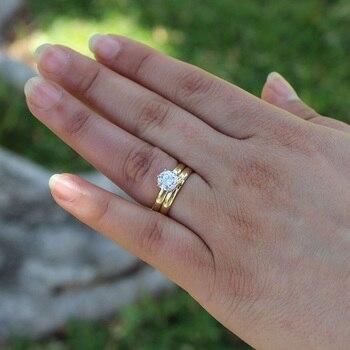 14 كيلو الذهب الأصفر 0.5ct 5 ملليمتر المويسانتي الاشتباك خاتم سوليتير مجموعة مختبر نمت الماس خاتم الزواج مجموعة للنساء 1