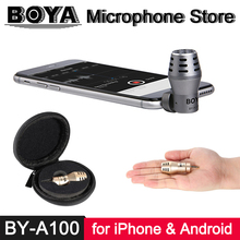 BOYA BY-A100 3.5mm TRRS Microfone para iPhone X 8 7 6 iPad iPod Touch Xiaomi 6 Oneplus 5 4 3 Smartphone Android Video Record Mic