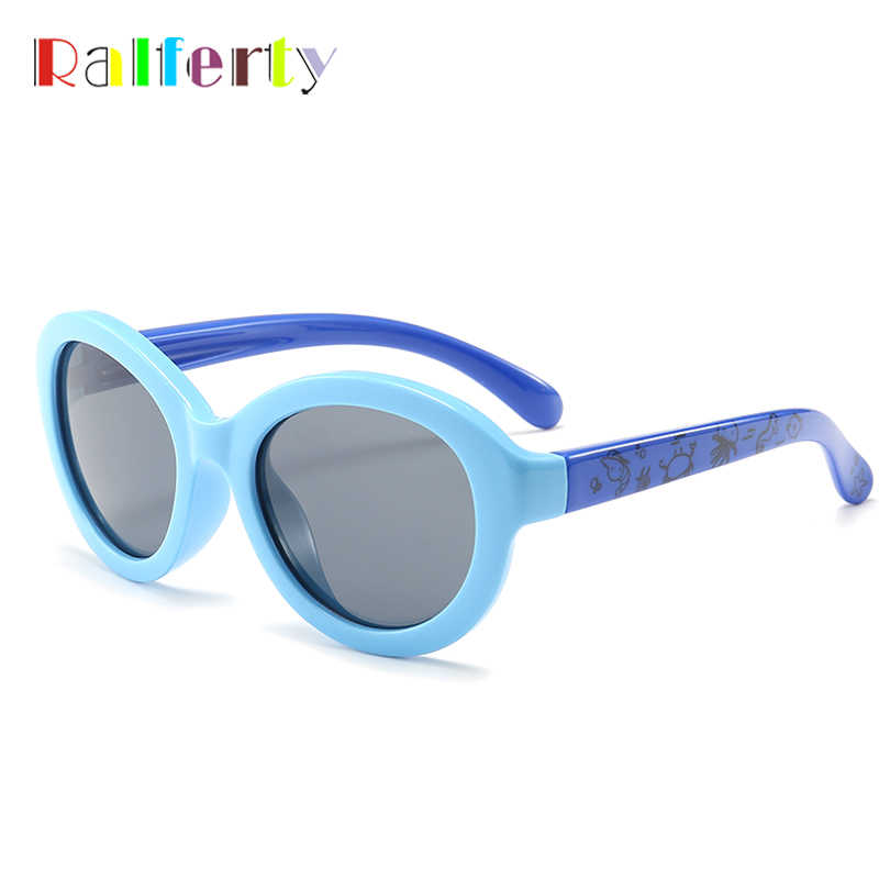 Ralferty 2018 Kids Oval Sunglasses Polarized Child Girl Boy UV400 Sun Glasses Flexible Silicone TR90 Eyewear Accessories K1887