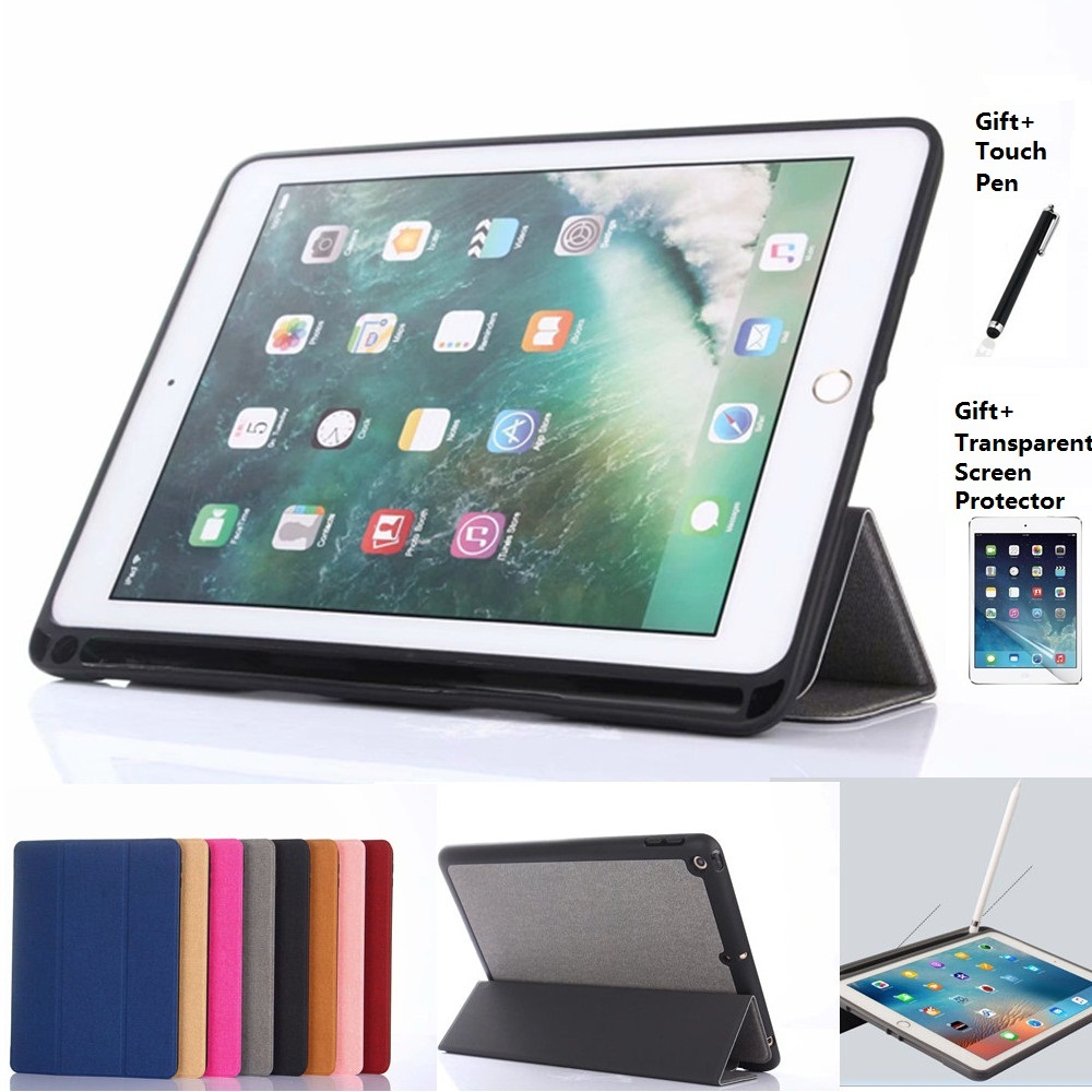 For iPad 2018 2017 Pro 10.5 Case PU Leather Smart Cover With Pencil Holder Auto Sleep Wake For iPad 2017 2018 9.7 inch Pro 10.5
