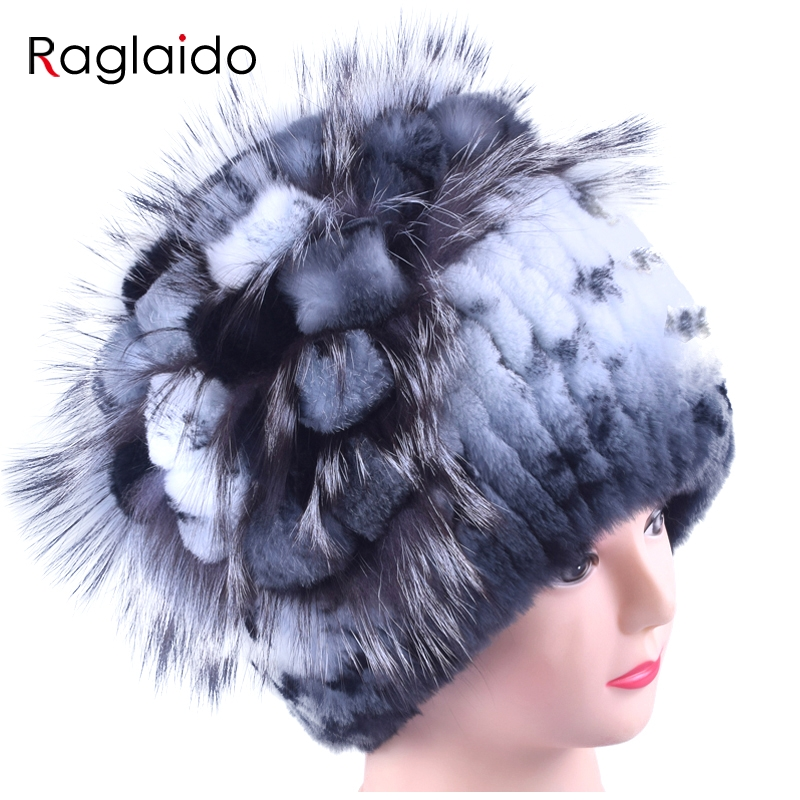 Women Rabbit Fur Hat Winter Warm fashion Lady Beanie Hat fox fur hats Handmade knitted hat headwear gorro Caps LQ11143