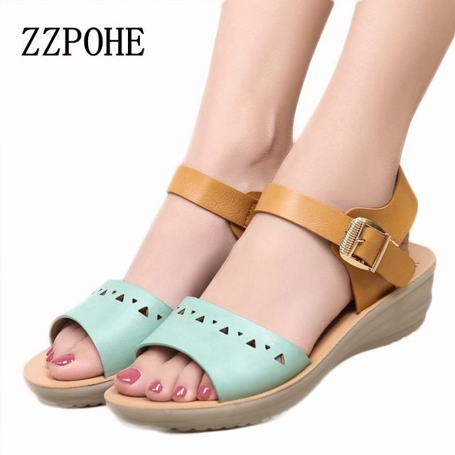 b94d0cbe86a751 ZZPOHE summer new fashion Ladies leather flat sandals comfortable  breathable casual open-toed sandals large size Women Sandals