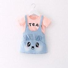 Summer Baby Girls Cartoon Rabbit Denim Jeans Overalls Dress Kids Children's Dresses roupas de bebe