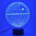 Lámpara de Mesa de la novedad Regalos de Navidad Robot USB Guerra Estrella de La Muerte 7 Colores LED Luz de La Noche de Sueño de Los Niños Decorativos Lights-3D-TD107