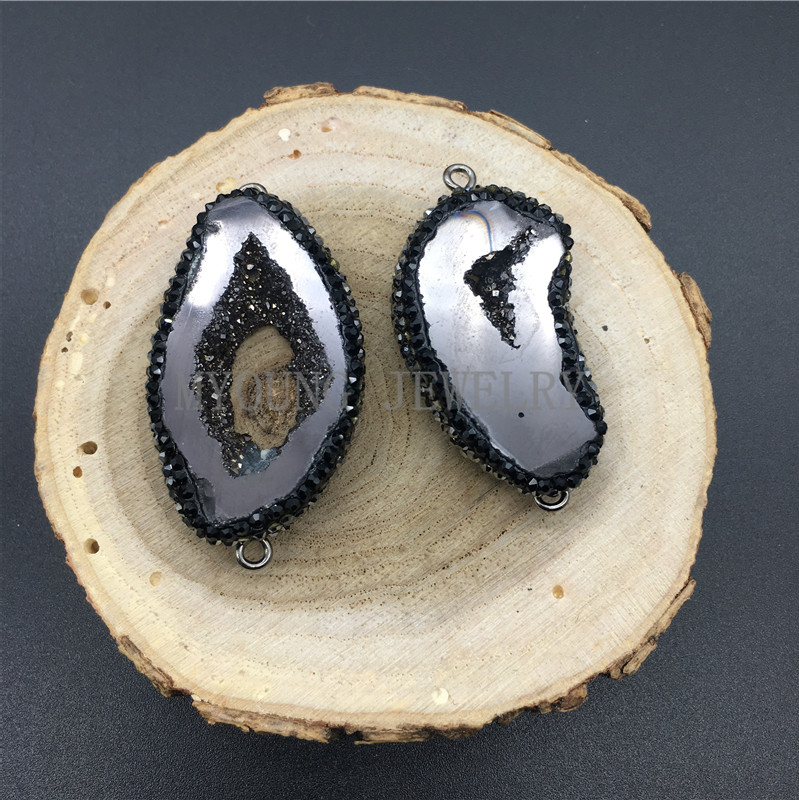 MY1285 Freeform Crystal Druzy Geode Slice Connector Pendant  Titanium Paved Zirconia Edges and Bail For Necklace Women Jewelry (2)