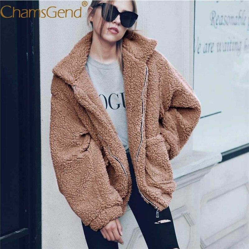 Chamsgend 2017 nueva moda mujer chaqueta Invierno Caliente Faux lambswool chaqueta de gran tamaño mujeres abrigo suéter rompevientos 77 #