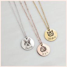SG Silver 925 Personalized Pet Necklace,Customize Photo Portrait and Name Pendant Necklace Loss Gift Free shipping.