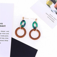 Retro temperament personality color earrings simple joker black green oval ring with wood fashion ear clip