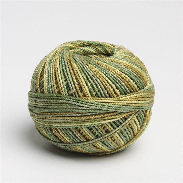 Размер 3 хлопок жемчуг пестрый 50 грамм мяч египетская длинноштапельная хлопковая пряжа газированная двойная мерсеризованная 6 нитей плетение - Цвет: 138