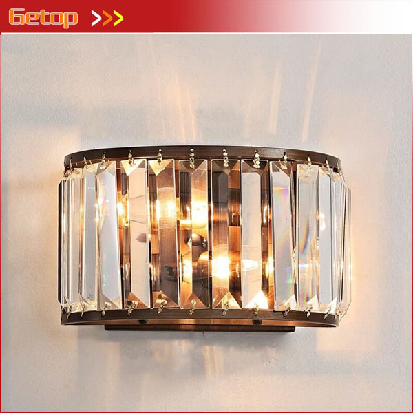 American Retro Country Bedroom Bedside Wall Lamp Simple Bathroom Crystal Mirror Front Lamp Living Room Background Wall Light E14