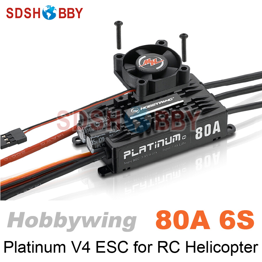 купить Hobbywing Platinum HV 80A V4 6S Brushless ESC Electronic Speed Controller for RC Helicopter Fixed-wing Airplane онлайн