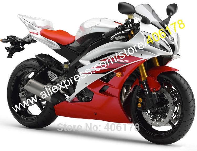Горячие продаж,обслуживание OEM обтекатели для YAMAHA YZF600 R6 В И YZF-R6 в YZFR6 2006 2007 06 07 красный белый мотоциклов обтекатели комплект (литья под давлением)