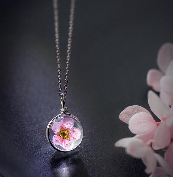 Real. 925 Sterling Silver Handmade Necklace Women Female Pink Peach Blossom Pendant Dry/ Dried Flower GTLX1251
