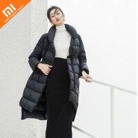 Оригинальный xiaomi mijia длинный пуховик женский 90% белый утиный пух высокое качество нейлоновая ткань зимняя длинная хлопковая куртка