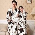 Albornoz Hombre Homens Kimono Robe Pijamas 2016 Casais No Longo Vestido Coral Roupão de Flanela E Inverno de Manga Comprida Pai-Filho criança