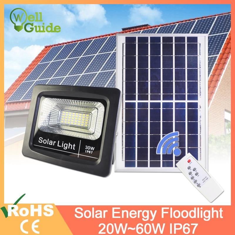 Led Flood Light Remote Sensor Refletor Solar Floodlight 20W 30W 50W 60W RGB IP65 Led Solar Light Waterproof Led Light Outdoor