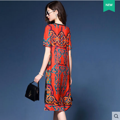 2017 New Summer Vintage Women dress Print Red Dignified Atmosphere Silk Dresses Design And Color 6641