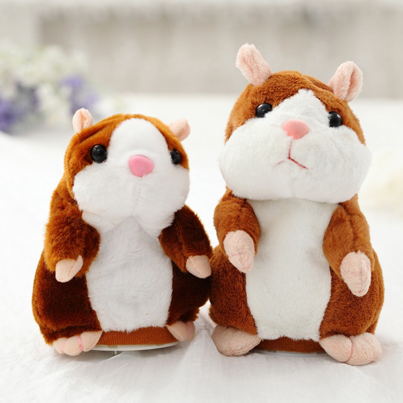 2017 16cm Talking Hamster Pet Plush Toy Hot Cute Speak Talking Sound Record Hamster Educational Toy for Children Gift