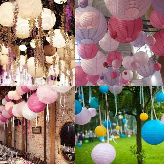 Mulit Color Option 8 20cm Chinese Paper Lantern Round Lamp Wedding Decor Glim Festival Decoration Lampion Party Scaldfish In Lanterns From Home Garden
