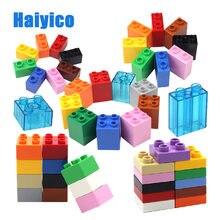 Criatividade grandes blocos de construção diy montar tijolos de base transparente compatível com tijolo 1*2 2*2 educação quadrada crianças brinquedos