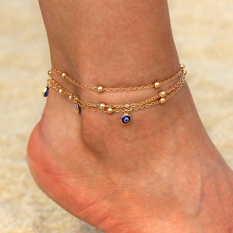 ... Boho Gold Silver Anklets for Women Girl Bohemian Multilayer Chain Devil  Eye Anklet Beach Bracelet DIY ... a88b320b4d5d