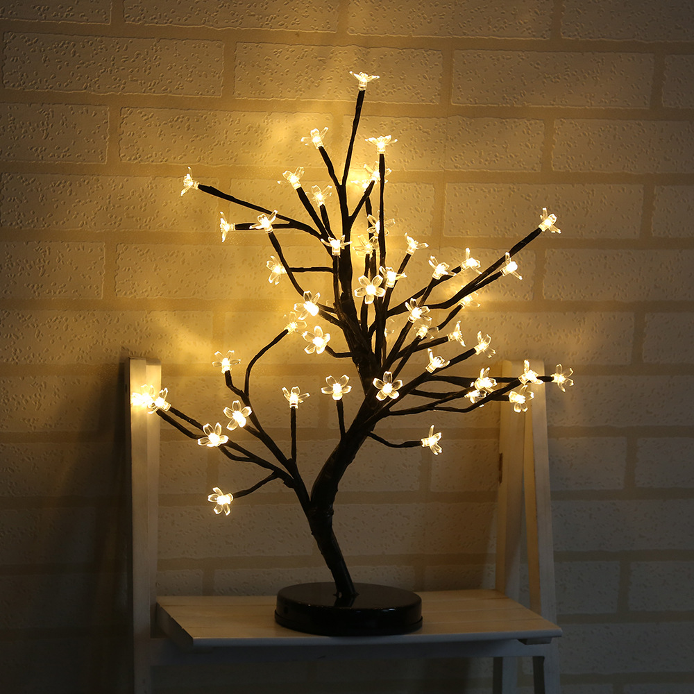 LED Battery Plum Blossom Flower Tree Night Light Adjustable