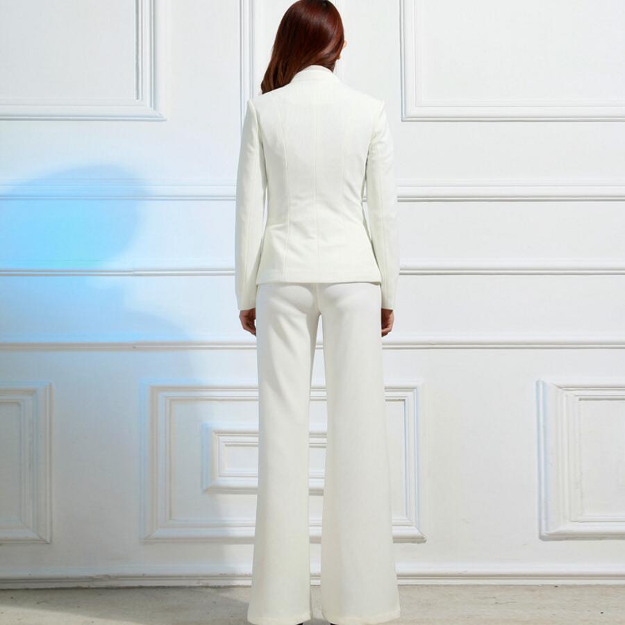 Costumes 2 Veste Costume Pièce Bureau Élégante Blanc Ensemble Ol Pantalon Dames pièce Et Bussiness Deux Formelle Nouveau Femmes vxg4ww