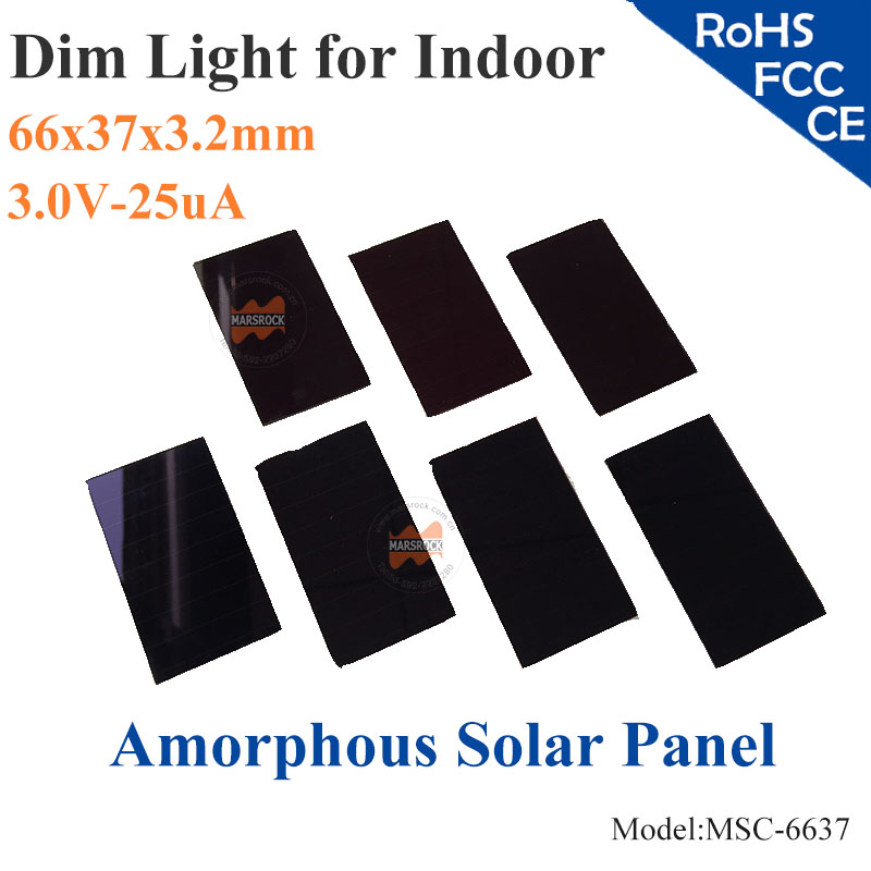66x37mm 3V 25uA dim light Thin Film Amorphous Silicon Solar Cell ITO glass for indoor Product,calculator,toys,0-3.2V battery